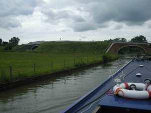 Train and canal bridges