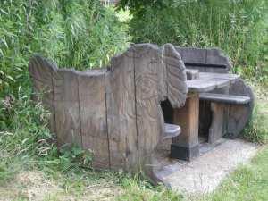 Pekingese picnic bench!