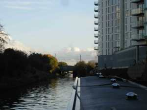 New housing shooting skywards (and a rare bit of boating traffic)