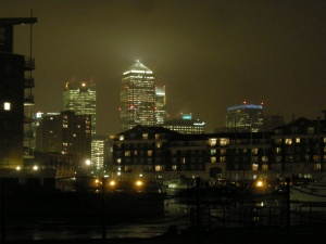 A nightime view from Limehouse Basin