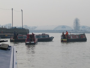 Assembling the convoy at Bow Creek mouth