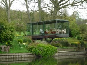 Unusual conservatory overlooking the river