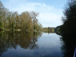 Wonderous view upstream from our mooring on Cliveden Reach
