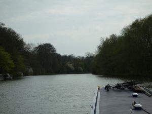 View upstream from Sonning Lock - good free moorings on the left bank.
