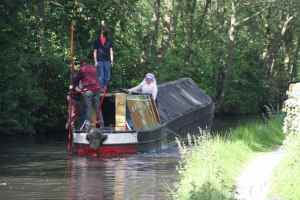 Shallow canal:deep boat - Fulbourne aground mid-channel