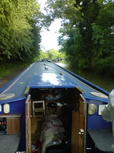 View from the helm - mooring in Wilmcote