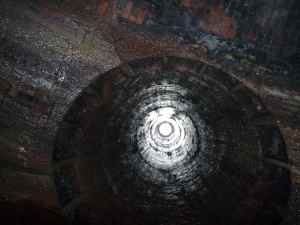 The view up a ventilation shaft in the Netherton Tunnel