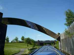Reflective pipe bridge on the Curly Wurley - so shapely, a real feature.