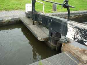 Both Blue and Lou almost fell in the canal today while crossing these lock gates!