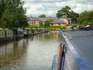 Attractive moorings and housing on the approach to Barbridge