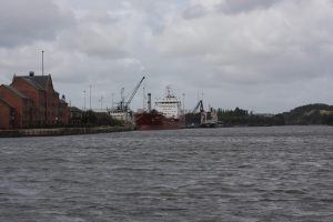 This ship would be following us up the canal, but an hour later....