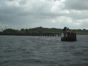 The wooden buoy and jetty to the right of the approach to Weston Marsh lock