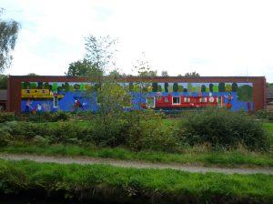Colourful mural on the Runcorn Arm