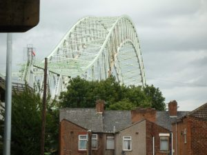 And the equally extravagant steel arch of the Runcorn-Widnes Road bridge