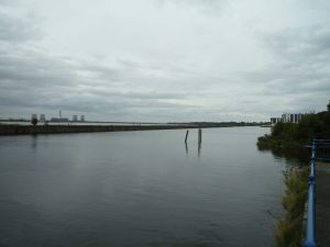 The Manchester Ship Canal and the Mersey beyond the wall