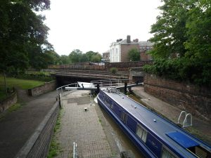 Northgate Staircase middle lock - see how that railway line's at eye level!
