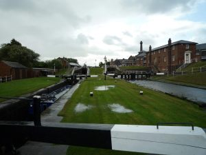 Looking back up the Ellesmere locks - you can see where the canal has flowed over the lockside