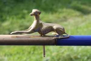 A close-up of our new tiller-pin - probably the nearest we'll get to owning a third greyhound :-)