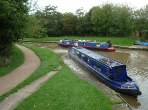 Getting warmed-up for a day's locking - the approach to the top of the Middlewich 3