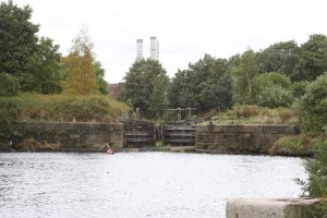 The derelict entrance lock to the abandoned Runcorn and Weston Canal