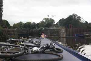 Leaving Vale Royal lock - you can see the 'works' on the right
