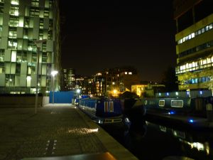 Paddington Basin by night.....