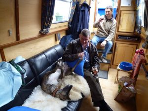 With 9 experienced greyhound handlers on board it wasn't long before Lou found someone to rub her tummy....