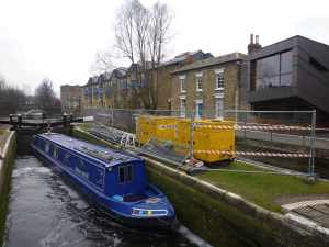 Works at Mile End - there was a lengthy stoppage here and it's still very awkward to get to both side of the lock (you wouldn't need to but the wind blew the bottom gates open!)