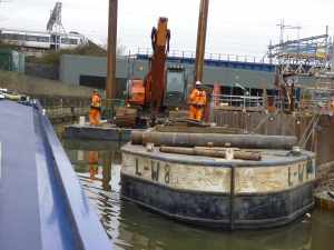 Crossrail works - the narrow gap to the left of the photo was just enough for a narrow boat!