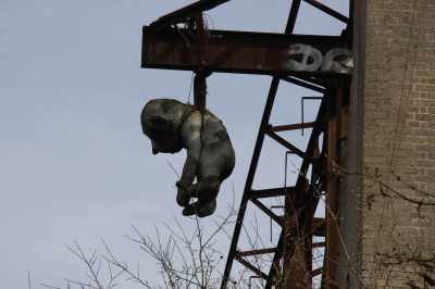 Familiar sight - that ape has been hanging there for a good 7 years - that's amazing! I wish I knew the story behind it - who put it there, and why? It's a canal mystery - maybe CRT should run a short story competition for him (or her)....
