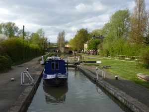 Looking back up towards top lock at Stoke Bruerne...