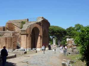The exterior of the Roman theatre at Ostia Antica...