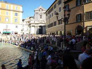 May is a great time to visit Rome - the trouble is that everyone knows it! This is the crowd at the Trevi Fountain...