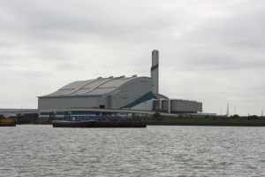 "This is Cory Environmental's ""Riverside Resource Recovery"" plant, producing energey from Londond's waste - rubbish is brought in by barge and ash is taken away by river too! http://www.coryenvironmental.co.uk/page/riversideresourcerecovery.htm"