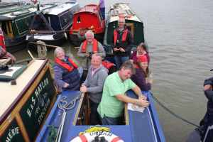 Happy crew - Kevin and Jan from Peace of Pearce were catching up with the other crews at the bow....