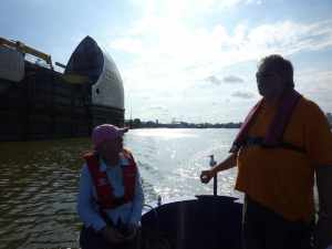 Passing through the Thames Barrier with our illustrious guest, Sue of nb No Problem...