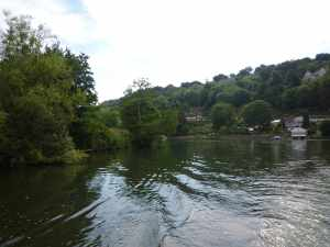"Looking downstream to our ""hole in the hedge mooring"" - on the right - see it?"