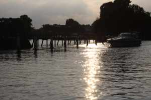 The weir at dusk - the high tide changed the landscape so dramatically :-)