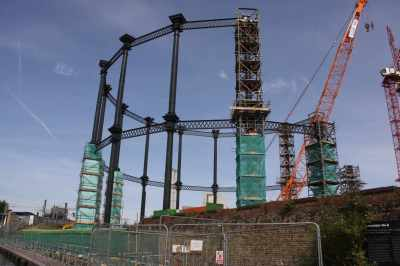 This Victorian gas holder near St Pancreas is being rebuilt (how many have been dismantled as a blot on the landscape?)...