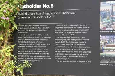 Here's the signboard - that explains the gasholder project - the whole canalside are is being regenerated hereabouts..