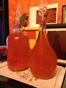 Settling after the 1st racking and almost ready for the second - yum yum - it tasted ok even at this stage!
