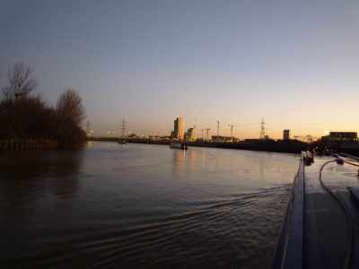The convoy following Bow Creek's extravagant meanders - the camera has a setting which maximises the light available...