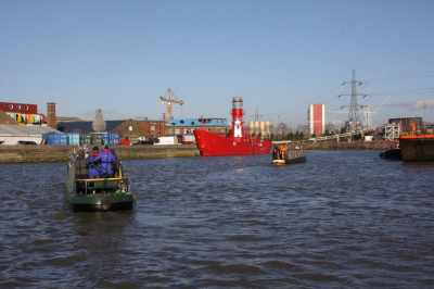 The familiar lightship at Bow Creek Mouth...