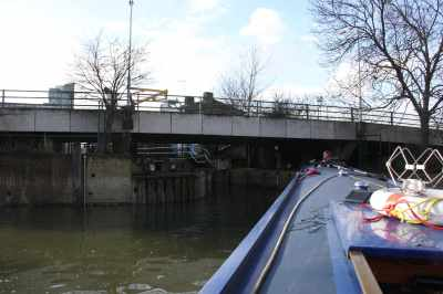 Turning towards City Mills lock - the water levels were just right for us just to be waved through...