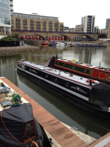 "A view across the ""new"" pontoons at Limehouse - gradually filling up with new moorers.."