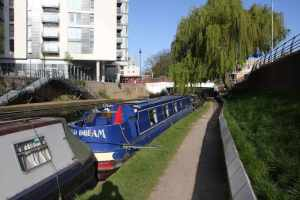 Our mooring in Hayes - the space was precisely 60' long - phew!  :-)