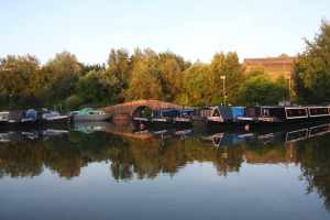 Hawne Basin at sunset - it is a lovely place to moor and we were made very welcome...