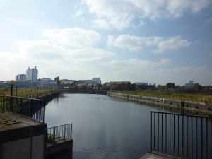 The view from Pomona Lock - can't wait to cruise the Manchester Ship Canal :-)