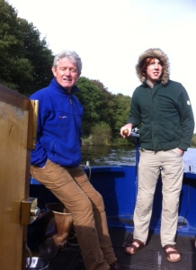 Steve and Alfie on the helm - Steve is a natural so we were able to relax and leave him there for most of the day :-)