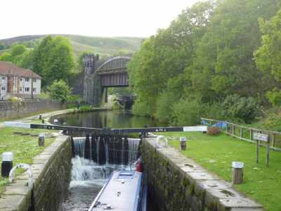 What a structure - castellated railway bridge crossing the canal at Todmorden...